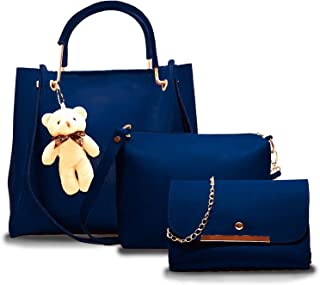 Fargo PU Leather Latest Handbags For Women's Ladies Combo Of 3 (Blue_Teddy_FGO-249)