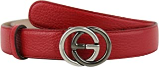 0551b7b1a29 Gucci Unisex Interlocking G Red Leather With Silver Black Buckle Belt  295704 6420