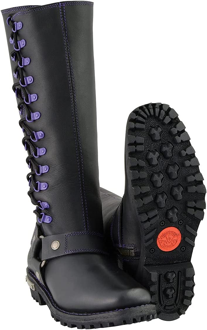 Milwaukee Leather MBL9366-BKPUR-9.5 Women's Harness Our shop OFFers the best service Boot Same day shipping
