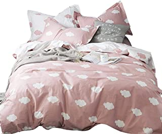 BuLuTu Cloud Queen Duvet Cover Pink White Cotton for Girls Women,Stylish Premium Modern Reversible Cute Full Size Kids Teen Bedding Sets Queen Comforter Cover with Zipper Closure,No Comforter
