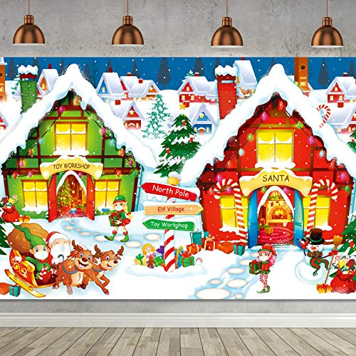Forniture per Decorazioni Natale, Setter Scene da Parete del Polo Nord in Tessuto Extra Grande Banner Fondale di Buon Natale Sfondo Fotografico del Villaggio di Babbo Natale per Natale 2020