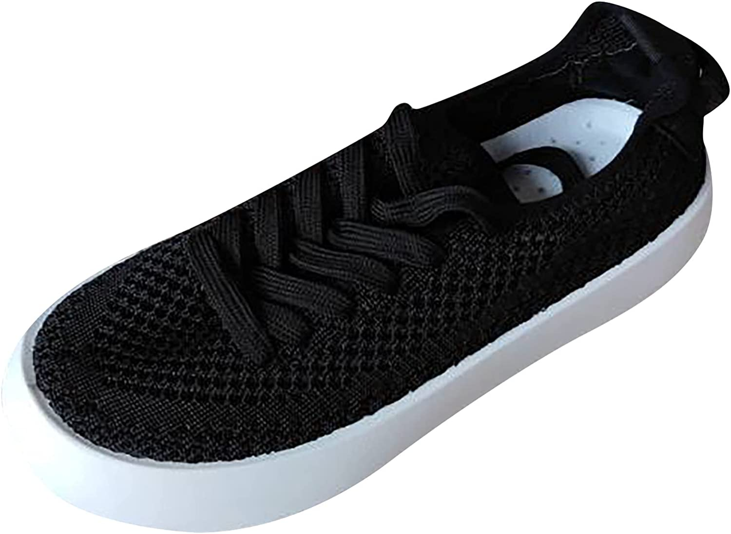oiangi Women's Walking Shoes Fashion Sneakers Solid Mesh Breathable Lace Up Round Toe Low-top Non Slip Lady Girls Sports Shoes Platform Loafers