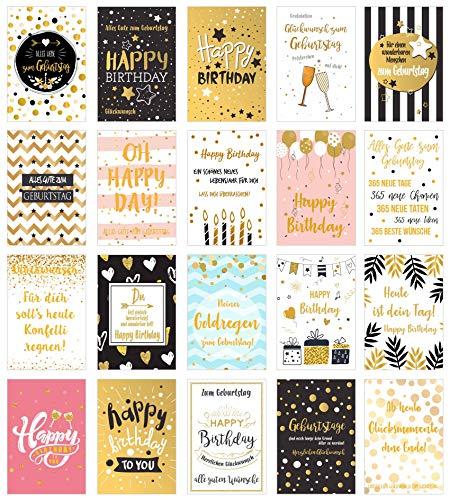 Edition Seidel Set 20 exklusive Premium Geburtstagskarten mit feiner Goldprägung und Umschlag. Glückwunschkarte Grusskarte Geburtstag Geburtstagskarte Mann Frau Karten Happy Birthday Billet Sprüche