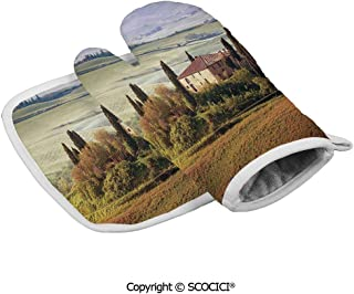 SCOCICI Oven Mitts Gloves - Tuscany Seen from Stone Ancient Village of Montepulciano Italy in Cloudy Heat Resistant, Handle Hot Oven Cooking Items Safely