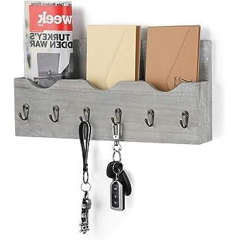 Organizador de Correo de Madera montado en la Pared con 3 Ranuras de Correo 6 Ganchos para Llaves para Oficina en casa Blanco r/ústico