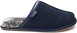 Lazy Dogz BANJO Mens Luxury Suede Leather Warm Faux Fur Mule Slippers Navy Blue