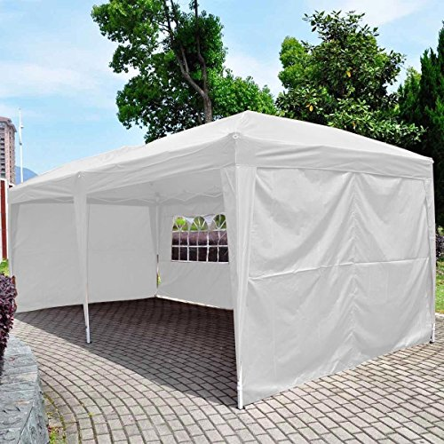 Giantex 10x20 Ez POP up Wedding Party Tent Folding Gazebo Beach Canopy W/carry Bag (White)