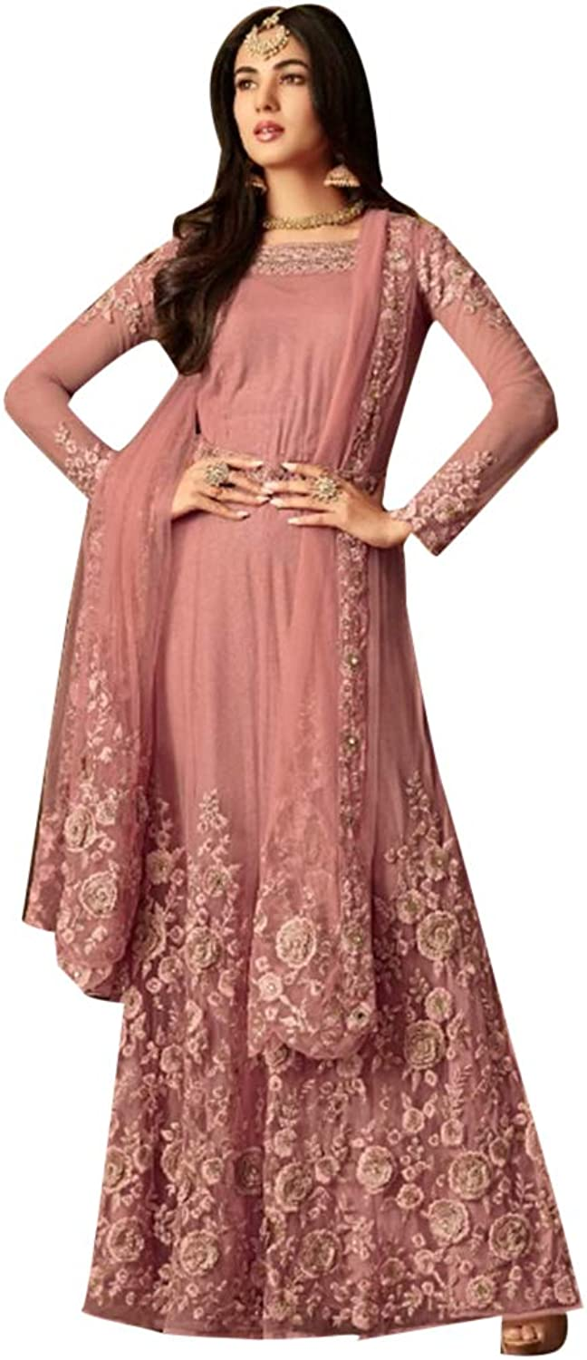 Indian Ethnic Pink Straight Long Floral Work Suit Party Wear 7542