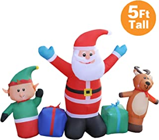 RETRO JUMP 5 Foot Tall Christmas Inflatable Santa Claus with Reindeer & Elf, LED Lighted Blow up Gift Box for Holiday Yard Decorations Outdoor