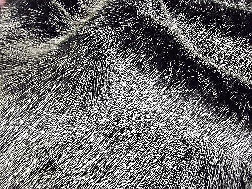 Super Luxus Kunstfell Stoff Material-Swiss Schwarzsilber, Schwarz 10Mtr - 1000cm x 150cm