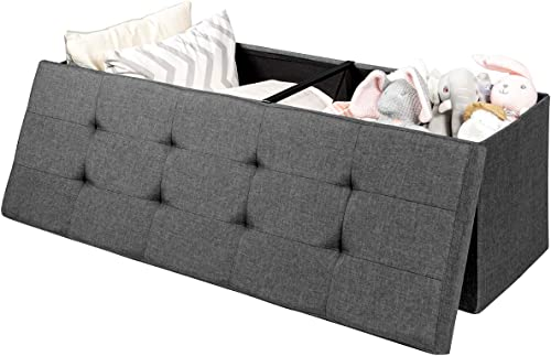 popular Giantex Storage Ottoman Bench, Folding Foot Rest 43.5'' with Divider, 120L Storage Space, Padded 2021 Seat wholesale Fabric Shoe Bench for Living Room Bedroom Hallway Entryway Bed End Bench (Gray) sale