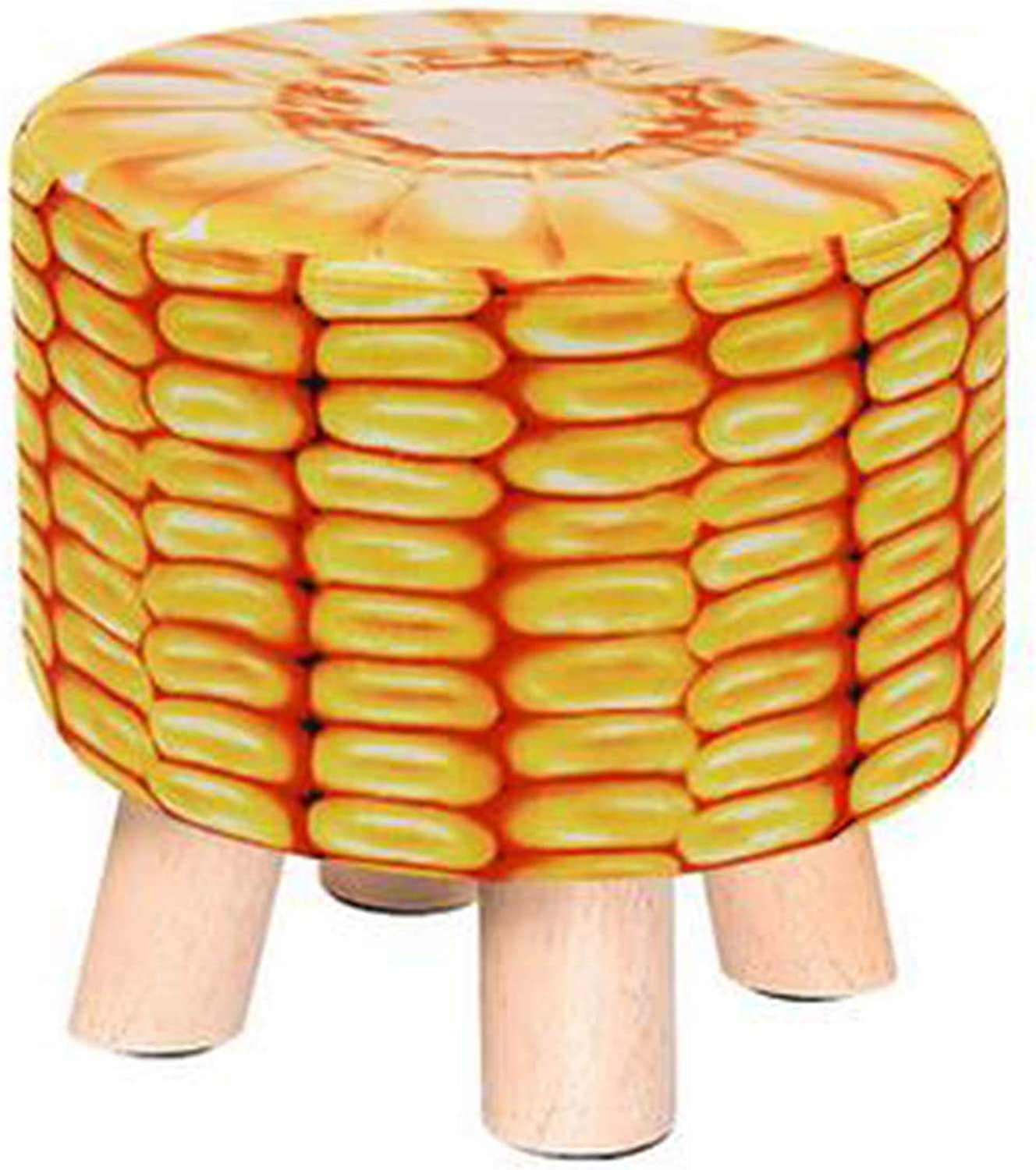 Creative Round Wooden Footstool Fabric Foot Rest Stool Adult Kids Applicable, Corn