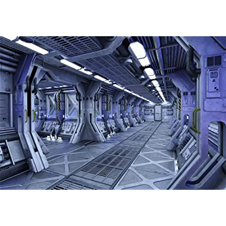 9x6ft Vinyl Space Station Photo Backdrop Space Craft Spaceship Outer Space Laboratory Passageway Background Kids Adults Astronomer Space Journey Photography Props Photo Booth Backdrop