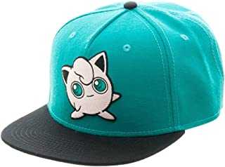 bioWorld Pokemon Jigglypuff Embroidered Snapback Cap Hat, Turquoise