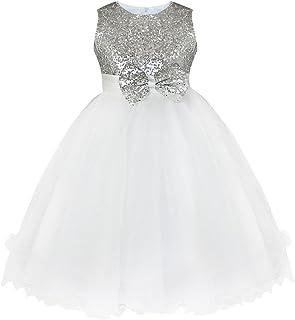fec1d2b1b iiniim Vestido Niña Princesa Elegante sin Mangas Boda Fiesta Bautizo Chica Vestido  Infantil Brillante Lentejuelas Flor