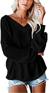 JFseason Women's Waffle Knit Tops V Neck Long Lantern Sleeves Blouses Shirts