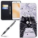 JAWSEU kompatibel mit Xiaomi Mi A1 Hülle Leder Flip Hülle Handyhülle für Xiaomi Mi A1 Tasche Brieftasche Schutzhülle,Schwarz Weiß Katze Muster PU Leder Flip hülle Kunstleder Tasche Handy Tasche