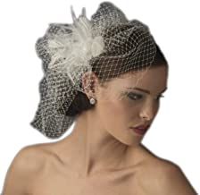 Maddy Women's Feather Rhinestone Couture Fascinator & Birdcage Veil Comb - Ivory