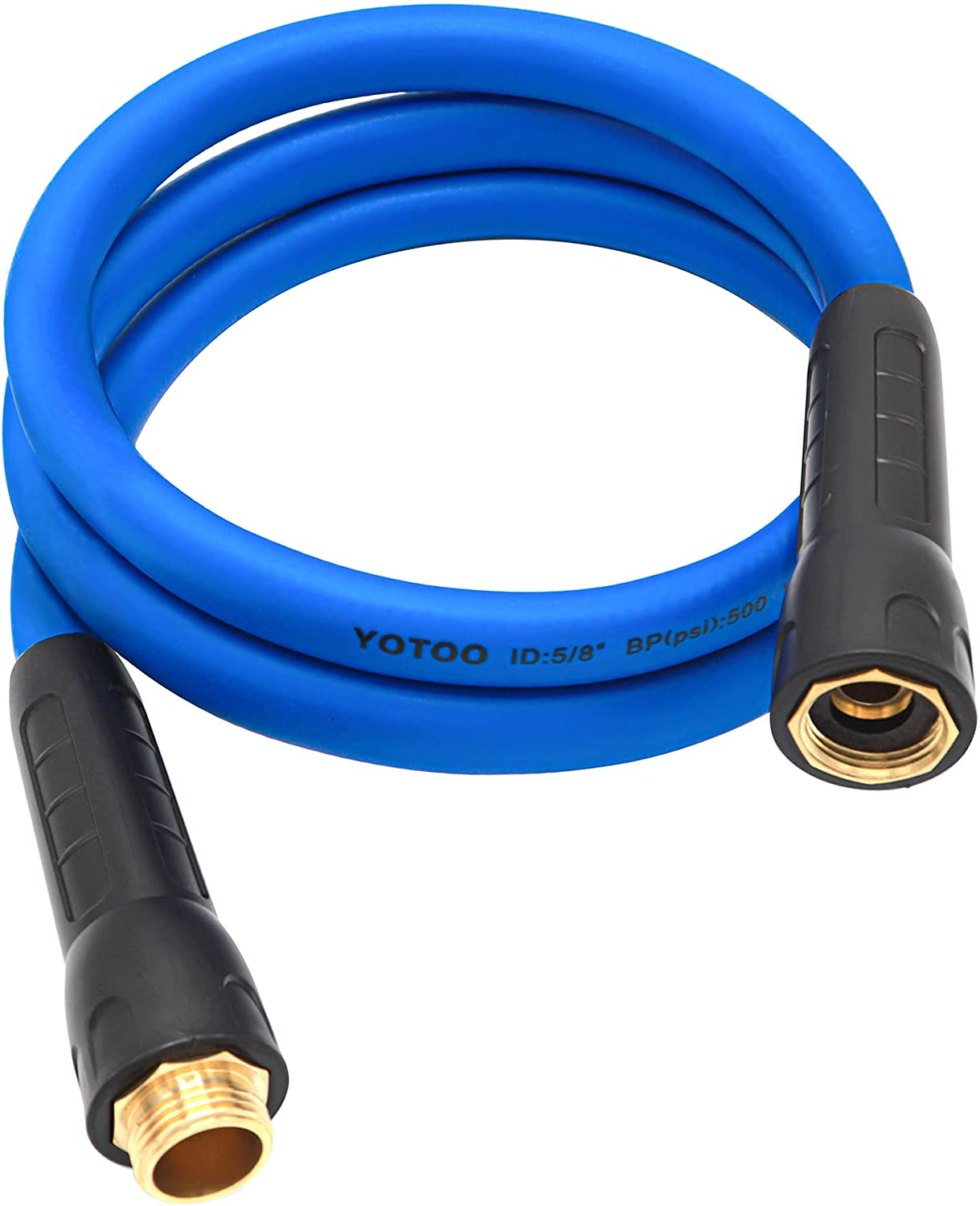 YOTOO Heavy Duty Hybrid Garden Lead in Water Hose 5/8-Inch by 6-Feet 150 PSI, Kink Resistant, All-Weather Flexible with Swivel Grip Handle and 3/4