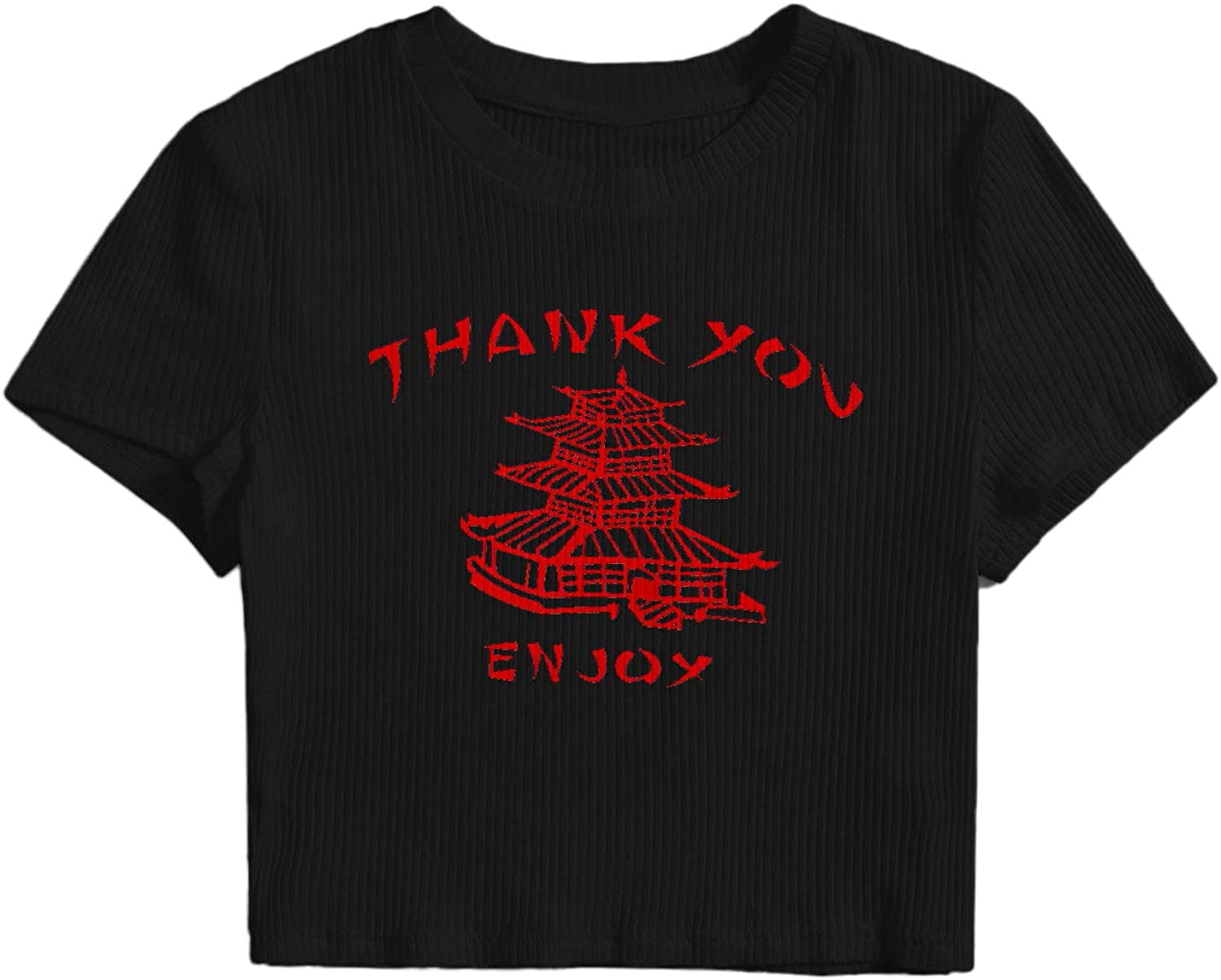 SOLY HUX Women's Plus Size Letter Graphic Print Short Sleeve Tee Ribbed Knit Crop Top