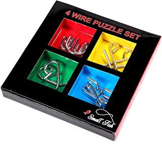 Metal Brain Teaser 4 Set for Kids and Adults, Mind Game Handheld Disentanglement Puzzle Toys, 3D Coil Cast IQ Logic Educational Wire Chain with Plastic Storage Box and Solutions, Best Novelty Idea