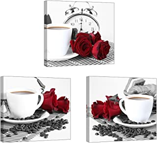 Rose Wall Art for Kitchen/Dining Room, SZ 3 Piece Romantic Canvas Prints of Red Roses and Coffee Beans, Still Life Painting Picture (Waterproof Artwork, 1