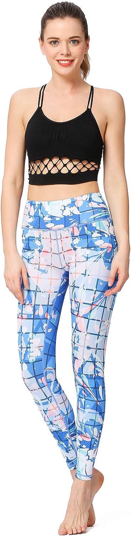 L.W.S Women Printed Yoga Pants Sport Workout Running Leggings Power Flex Yoga Leggings Feather L Sport Legging