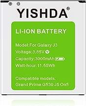 Galaxy J3 Battery, YISHDA 3000mAh Li-ion Replacement Battery Compatible with Samsung Galaxy Grand Prime SM-G530, Galaxy J5, Galaxy On5 G530 EB-BG530BBC EB-BG530BBE EB-BG530BBU [18 Month Warranty]
