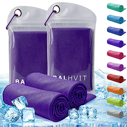 Balhvit 2 Pack Instant Relief Cooling Towel for Neck, Ice Towel, Microfiber Towel, Chilly Headband Bandana Scarf, Cool Cold Towels for Men/Women, Yoga, Sport, Running, Gym, Workout, Hiking