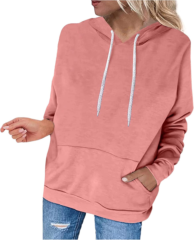 Hoodies for Women Pullover Long Sleeve Solid Hooded Sweatshirts Teen Girls Casual Loose Tops Shirts