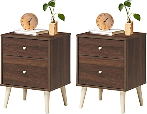 discount Giantex Nightstand W/Drawers and Solid Rubber Wood Legs, Large sale Storage Space Side Sofa Table for Bedroom, Living Room, Hallway Storage Cabinet Organizer outlet online sale Beside End Table (2, Coffee) outlet sale