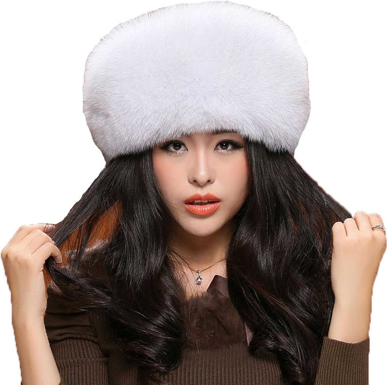 MINGXINTECH womens real fox fur hat handmade fashion pure color warm winter cap