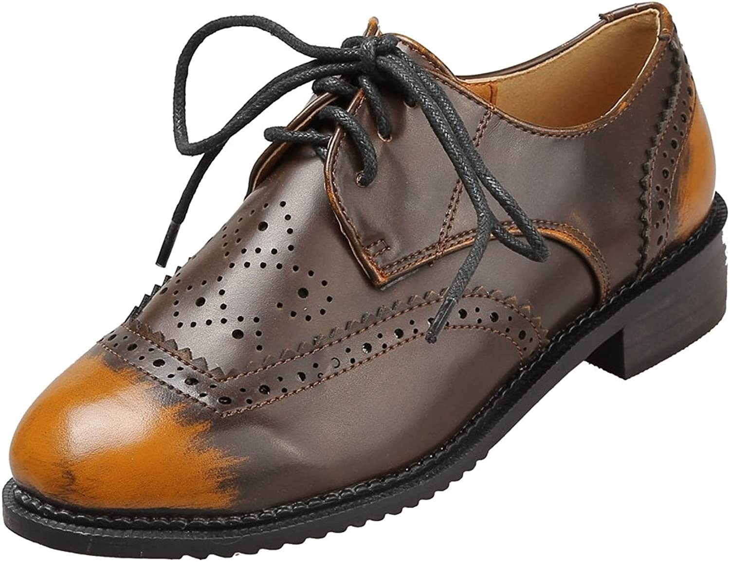 T-JULY Women's Wingtip Oxfords shoes - Comfy Perforated Lace-up Low Heel Two Tone shoes