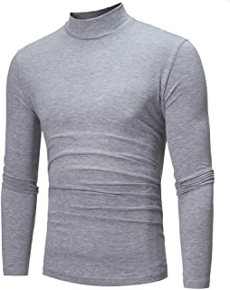 Pullover Sweatshirts for Men Solid Turtleneck Tops Long Sleeve Fashion Slim Fit Casual Tee Shirt Sweater