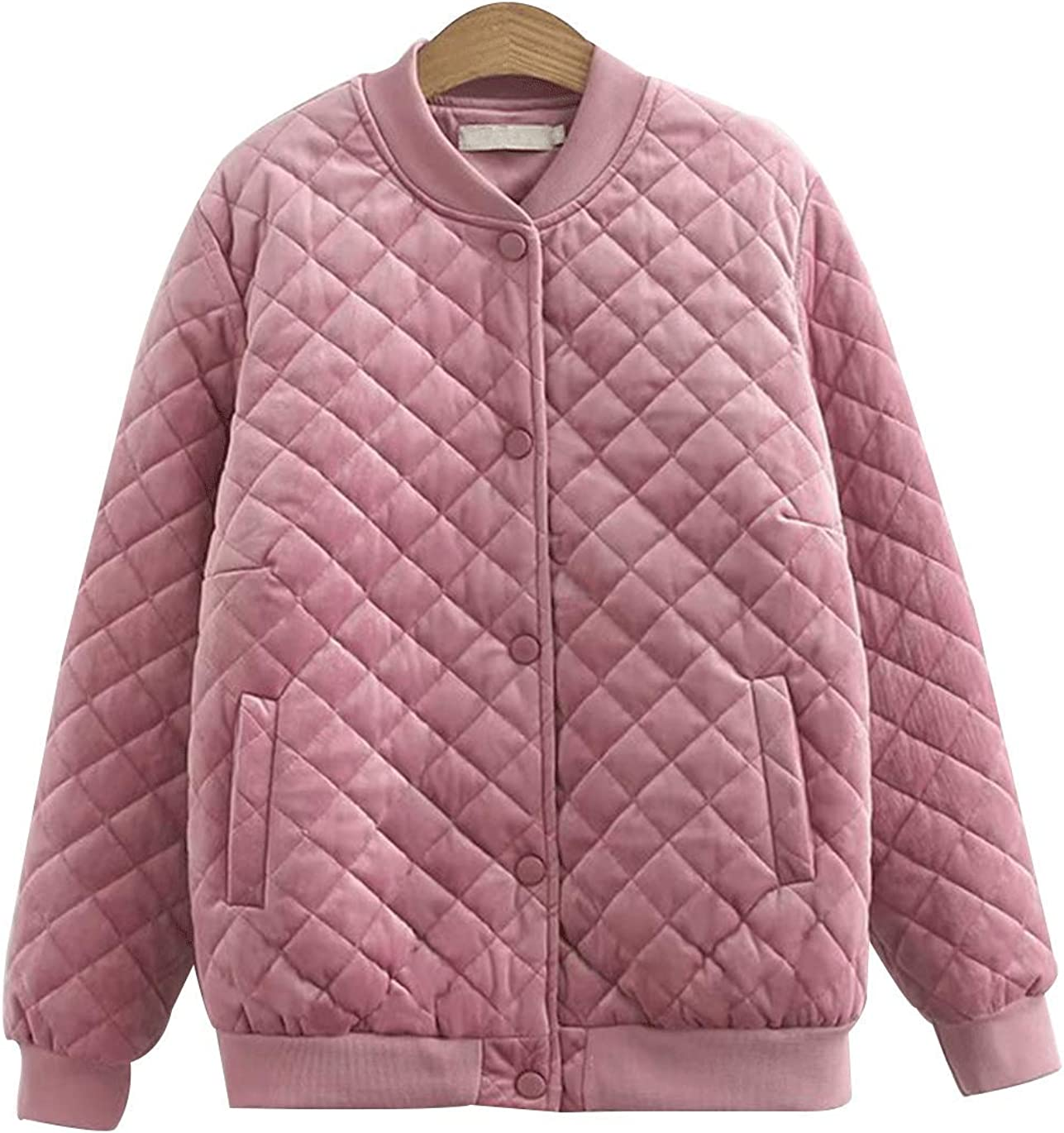 Haellun Women's Quilted Padded Jacket Coat Classic Plus Size Button Up Outerwear