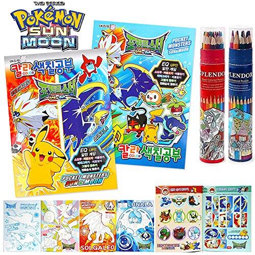 Sun & Moon Pokemon Series Coloring Book, 12 Colors Pencils Crayon, Sticker Set