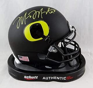 Marcus Mariota Signed Oregon Ducks Black Schutt Mini Helmet- Mariota Holo Yellow