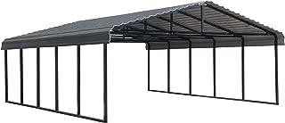 Arrow 20' x 24' 29-Gauge Metal Carport with Steel Roof Panels, 20' x 24', Charcoal