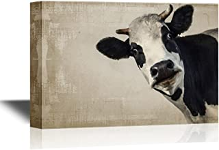 """wall26 - A Cow on Vintage Background Gallery - Canvas Art Wall Art - 24""""x36"""""""