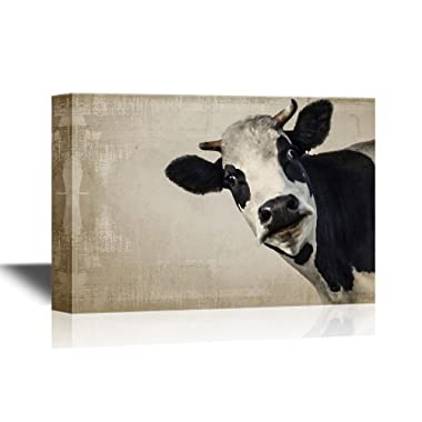 wall26 - A Cow on Vintage Background Gallery - Canvas Art Wall Art - 24 x36