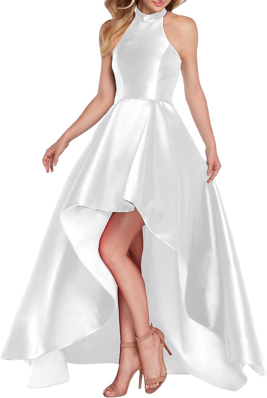 Women's Halter High Low Virginia Beach Mall Satin Formal Prom Ball A-line Dress 55% OFF Gown