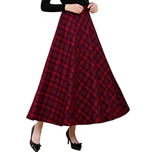 c1966ce8e3 Femirah Women's Blue Red Plaid Winter Warm Wool Skirt Long Maxi Skirt