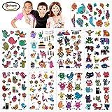 Konsait 160pcs Tatouages temporaire Tatoo pour Enfants Fille garçons, Étanche Tatouages éphémères Fleur Papillon Animaux pour Enfants de fête d'anniversaire Cadeau