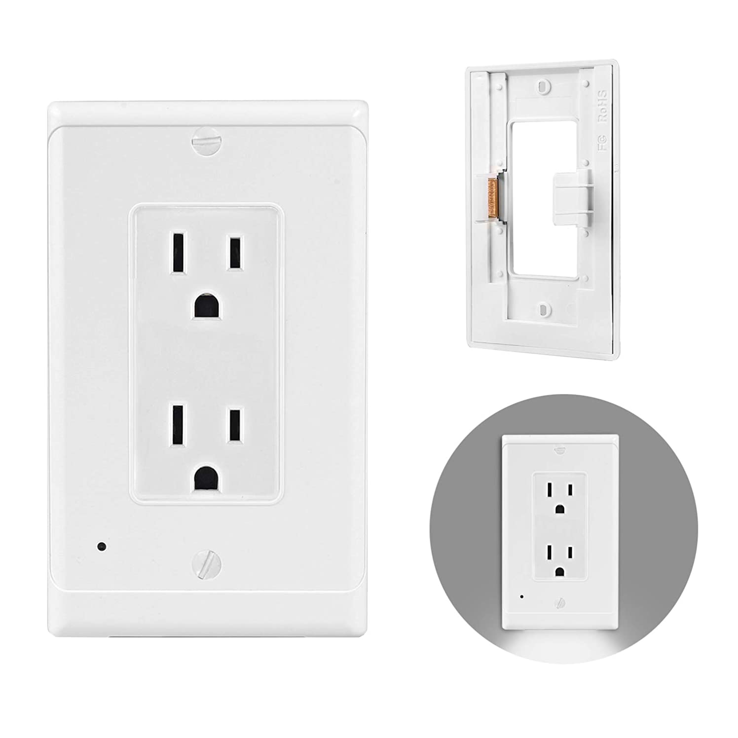 RielRons Outlet Covers with LED Light, 2 Pack Lighted Wall Plate Covers with Swicth Sensor Controlled Light for Corridor Bedroom and Decorative Wall Outlets(Duplex, Cover Only)