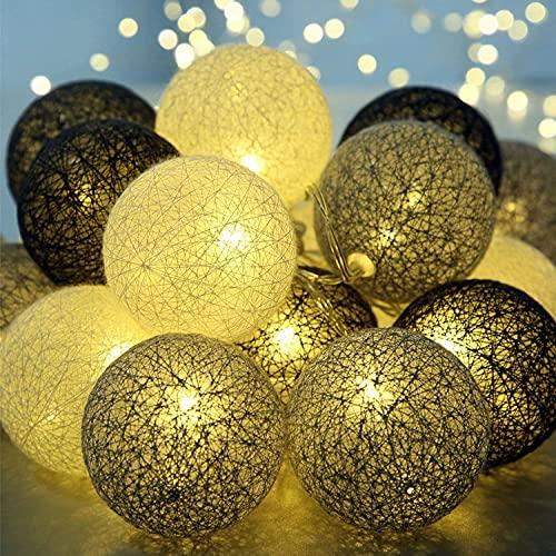 Molbory Lichterkette Baumwollkugeln USB, 3,5M 20 LED Kugel Lichterketten für Innen Deko, LED Lichterkette mit Cotton Balls, Lichterkette Kugeln für Weihnachten, Hochzeit, Party, Zimmer, Vorhang (Grau)