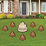 Big Dot of Happiness Oh Crap, You're Old - Funny Yard Sign and Outdoor Lawn Decorations - Poop Birthday Party Yard Signs - Set of 8
