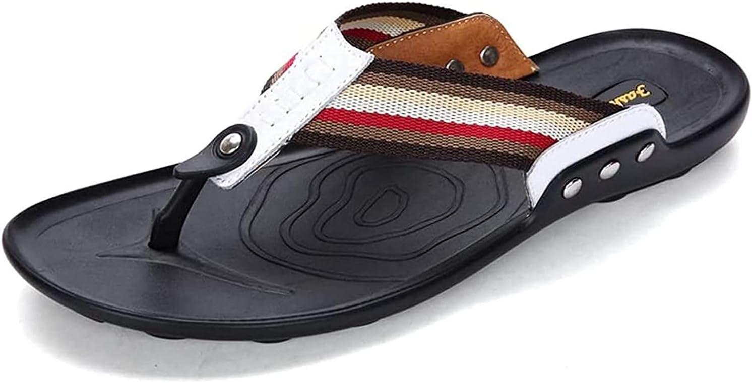SDFOOWESD Sandalias para Hombres Mens Sandals Mens flip Flops Casual Striped Flip Flops Arch Support Flip Flops Summer Flat Beach Sandals for Men Shoes Bath Slippers(Color:White;Size:43)