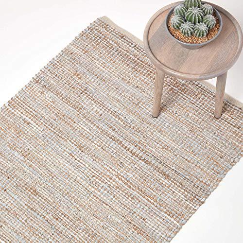 Homescapes Teppich/Läufer Madras aus recyceltem Leder und Hanf, 66 x 200 cm, Natur