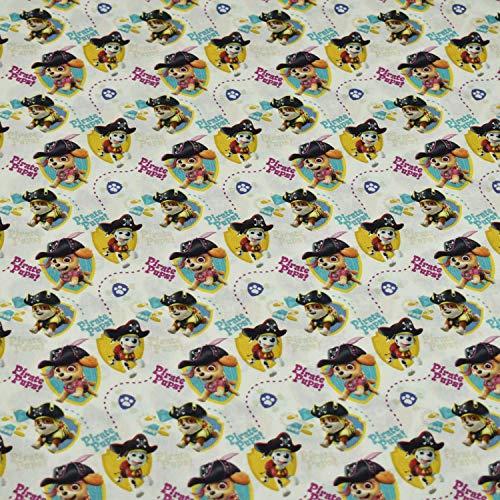 Baumwollstoff Paw Patrol Pirate Pups, 100prozent Baumwolle, weiß (50cm x 147cm)