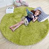 QUANHAO Alfombra de Terciopelo esponjosa súper Suave para Interiores, Linda Alfombra de Dormitorio esponjosa, Adecuada para cojín de sofá de baño (Verde, 120x120cm)